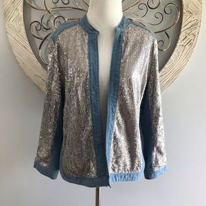 Chico's Jean Jacket Sequins Size 2 Large
